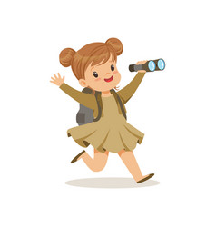 beautiful little girl in scout costume running vector image vector image
