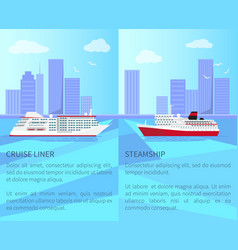 luxurious cruise liner and spacious steamship vector image