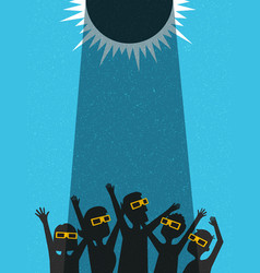 people celebrate watching the solar eclipse vector image vector image