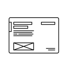 thin lines icon modern symbol of wireframe page vector image