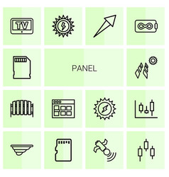 14 panel icons vector image