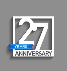 27 years anniversary logotype with white color vector