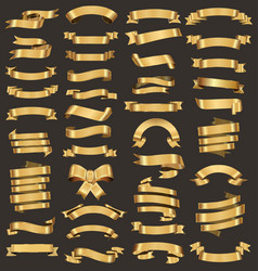a collection of various gold ribbons vector image