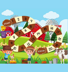 A rural board game template vector