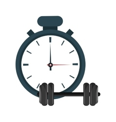 Analog chronometer and dumbbell icon vector