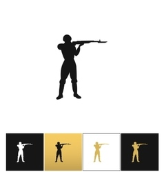 Army soldier silhouette icon vector