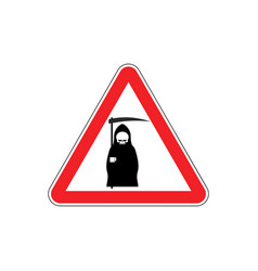 attention death dangers of red road sign grim vector image