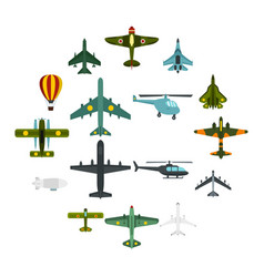 aviation icons set flat style vector image