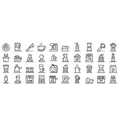 barista icons set outline style vector image