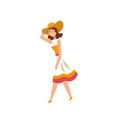 beautiful elegant woman walking active healthy vector image
