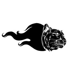 Black silhouette a head a tiger with a flame vector