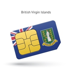 British Virgin Islands phone sim card with flag vector