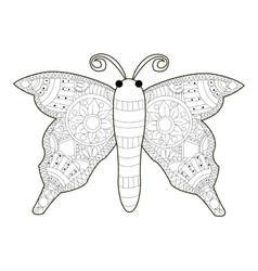 Butterfly coloring for adults vector