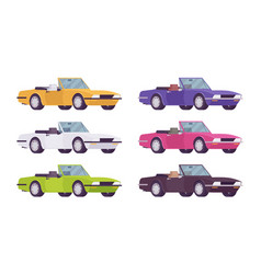 cabriolet car set in bright colors vector image