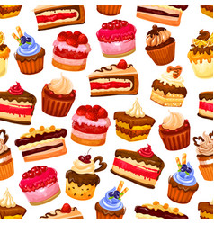 cakes desserts and pastry sweets seamless pattern vector image
