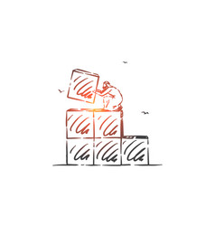 Career ladder building concept sketch hand drawn vector
