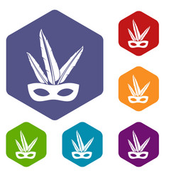 Carnival mask icons set hexagon vector