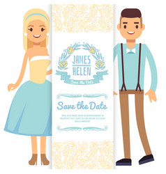 Cartoon character bride and groom isolated on vector