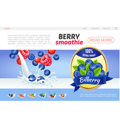 Cartoon sweet natural smoothies webpage concept vector