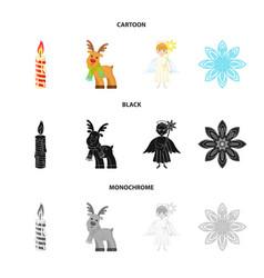 Christmas candle deer angel and snowflake vector