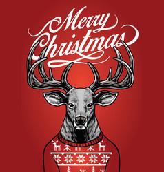 christmas deer wearing christmas sweater vector image