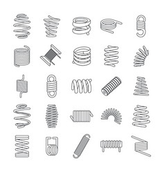 Coil spring cable icons set outline style vector