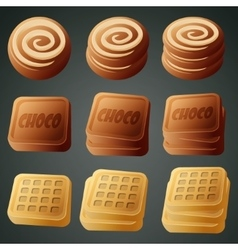 Cookies chocolate and waffles vector