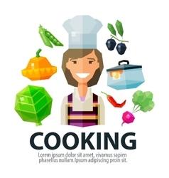 Cooking logo design template kitchen vector