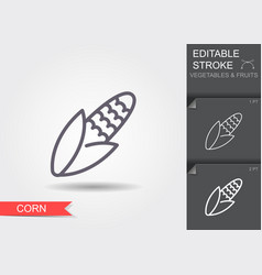 corn line icon with editable stroke with shadow vector image
