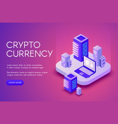 cryptocurrency mining blockchain vector image