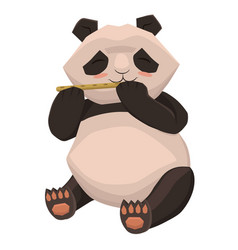 cute panda plays flute isolated on white vector image