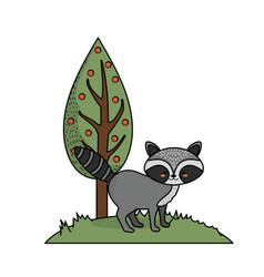 Cute raccoon wild animal next to tree vector