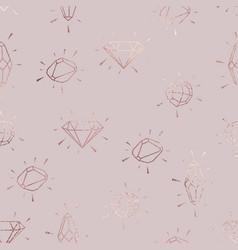 Diamonds rose gold elegant pattern vector