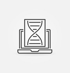 dna with laptop concept outline icon vector image