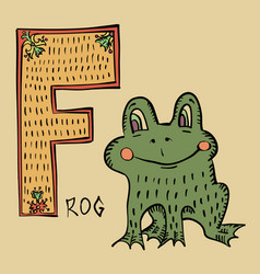 f for frog folk russian lubok style alphabet vector image