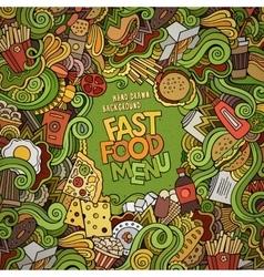 Fast food doodles elements frame background vector image