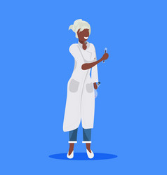 Female scientist holding test tubes woman vector