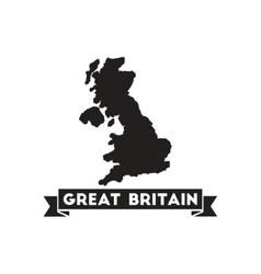 Flat icon in black and white United Kingdom map vector