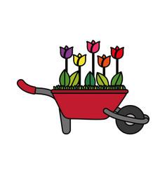flowers on wheelbarrow vector image