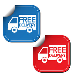 Free delivery labels or stickers vector