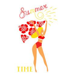 Girl in bikini for banner vector