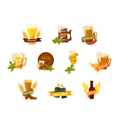 glassware beer mugs and bottles brewery kegel vector image