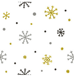 gold and silver glitter snowflakes background vector image