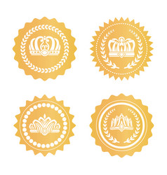 Gold certificates with royal crowns silhouettes vector