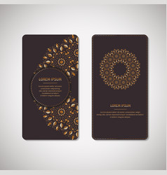 Golden floral ornamental cards with oriental vector