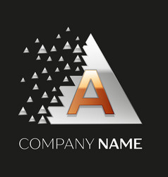 golden letter a logo in silver pixel triangle vector image