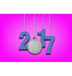 Golf ball and 2017 hanging on strings vector