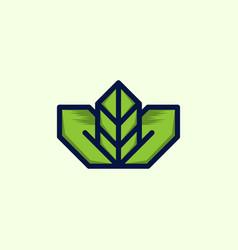 green leaf naturally outline business logo design vector image