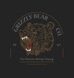 Grizzly bear logo grunge label print angry roar vector