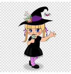 Halloween cartoon character of little baby girl vector